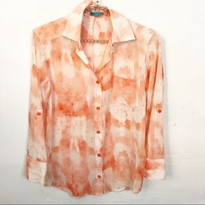Alice + Olivia l Peach Watercolor Silk Blouse